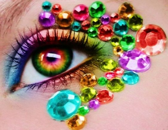 colorful diamonds eye make-up-f13321