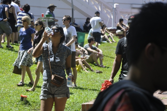 Festival goers hydrating themselves with FIJI Water