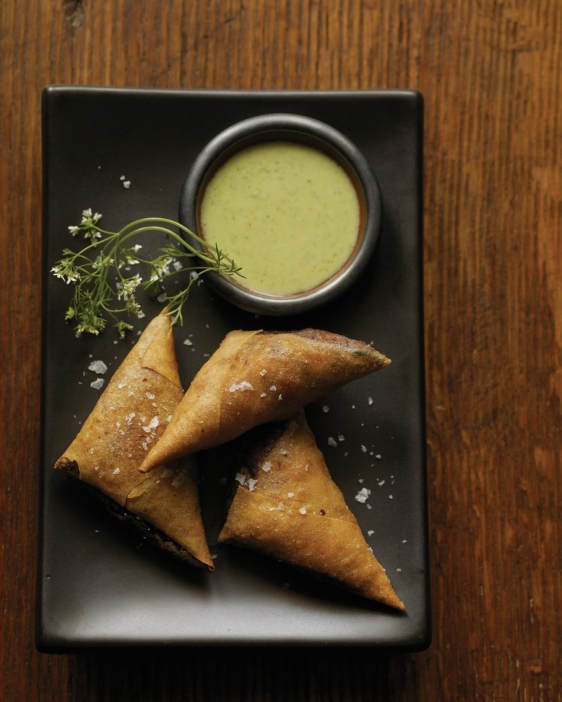 Spiced Chicken Samosas, Cilantro Yogurt